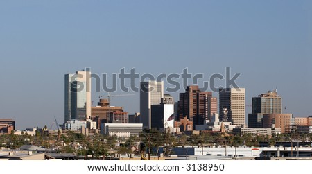 Panorama of Highrise Buildings in Downtown of Phoenix, AZ - stock photo