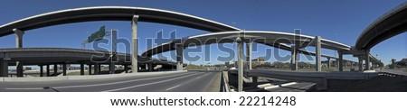 panorama of highway interchange in Austin, Texas - stock photo