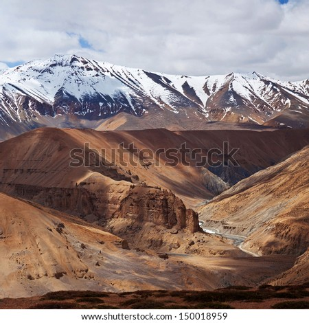 Panorama of Himalaya mountain landscape in Ladakh, Jammu and Kashmir State, North India - stock photo