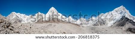 Panorama of himalayas, Everest region, Nepal - stock photo