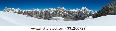 Panorama of Himalayas near the summit of Mera Peak, Nepal - stock photo