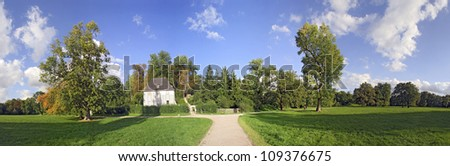 Panorama of Historic park with gardenhouse of Goethe in Weimar - stock photo