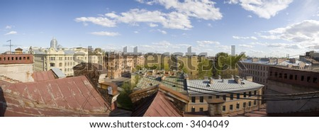 Panorama of historical area of St.-Petersburg from a roof