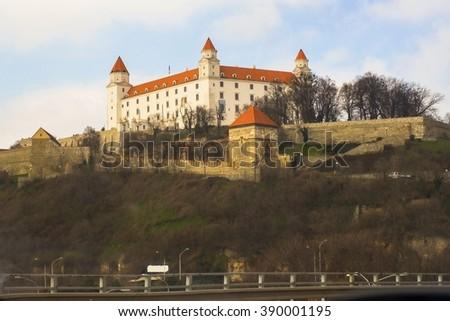 Panorama of historical Bratislava´ s castle, Slovakia, Europe - stock photo