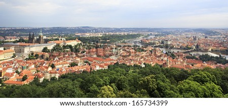 Panorama of historical center of Prague. View from Petrin Lookout Tower.