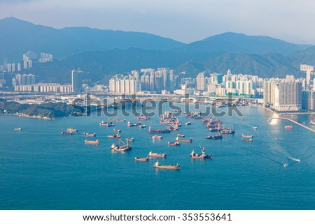 Panorama of Hong Kong West in vintage tone, winter - stock photo