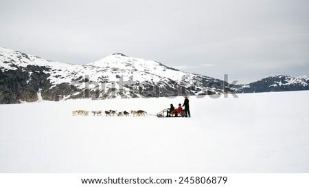 Panorama of huskies and malamutes pull dog sled rider tourists along Alaska glacier snow between mountain ranges - stock photo