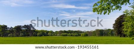 Panorama of Idyllic Phoenix Park in Dublin Ireland - stock photo