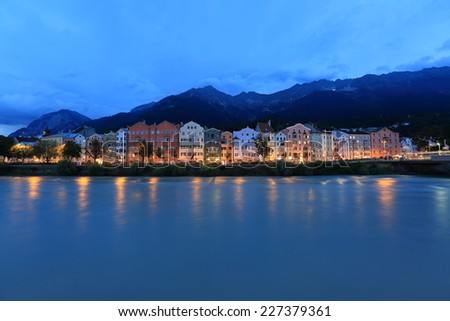 Panorama of Innsbruck and river Inn, Austria - stock photo