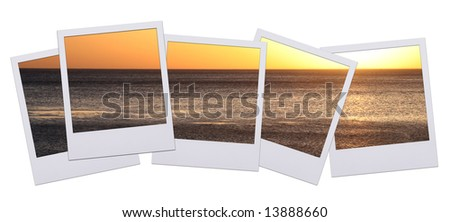 Panorama of instant photo pictures with sunset isolated on white background