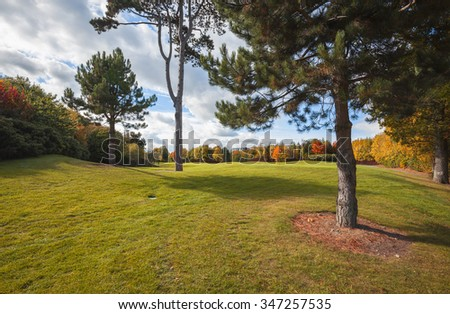 panorama of Ireland autumn country side, golf area