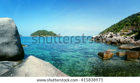 Panorama of Island in southern Thailand, Koh Tao, Chumphon. - stock photo