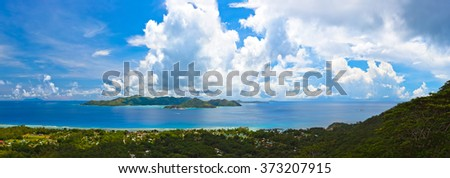 Panorama of island Praslin at Seychelles - nature background - stock photo