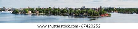 Panorama of islands Skeppsholmen and Kastellholmen in Stockholm, Sweden - stock photo