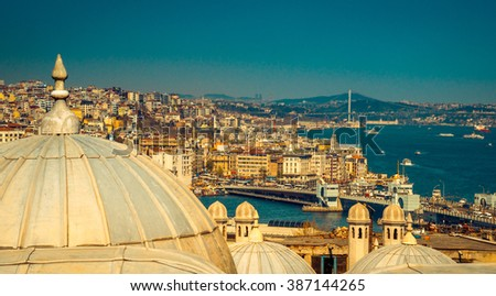 Panorama of Istanbul - travel concept in Turkey, old town with Suleymaniye Mosque, Galata Bridge and Bosphorus Strait. Landmarks of Istanbul for popular tourist routes, panoramic view on Golden Horn. - stock photo