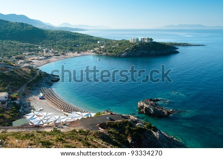 panorama of Jal Bay beach in southern Albania - stock photo