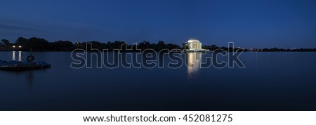 Panorama of Jefferson Memorial at twilight