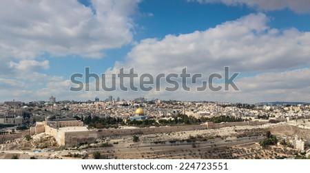 Panorama of Jerusalem city, Israel - stock photo