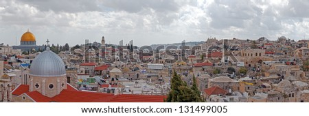 Panorama of Jerusalem Old City and Temple Mount from Austrian Hospice Roof, Israel - stock photo