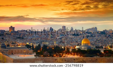 Panorama of Jerusalem old city. Israel - stock photo