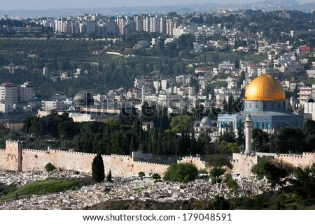 Panorama of Jerusalem with of the Temple Mount, including Dome of the Rock and Al-Aqsa Mosque, from the Mount of Olives,  Israel