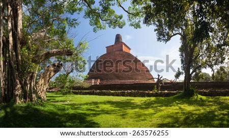 Panorama of Jetavan the oldest Dagoba in  Anuradhapura, UNESCO, Sri Lanka, Asia - stock photo