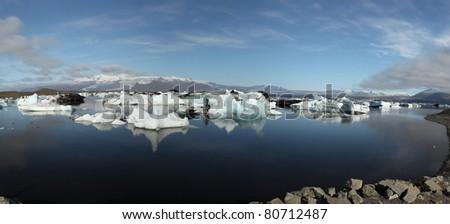 Panorama of Jokulsarlon lake iceberg lagoon Southeast of Iceland - stock photo