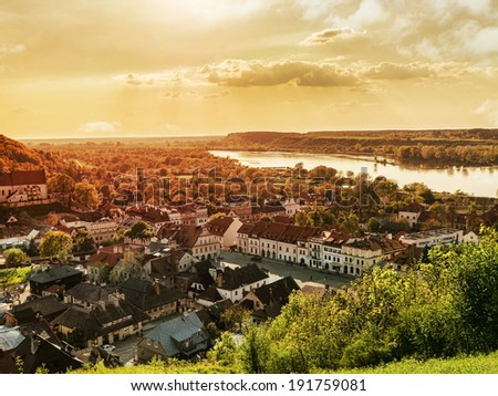 Panorama of Kazimierz Dolny town over the Vistula river Poland - stock photo