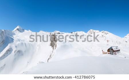 Panorama of Kitzsteinhorn Glacier, Kaprun, Austria - stock photo