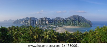 Panorama of Ko Phi-Phi, tropical island from viewpoint, Krabi Province, Thailand, Asia - stock photo