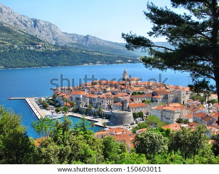 Panorama of Korcula, old medieval town in Dalmatia region, Croatia - stock photo