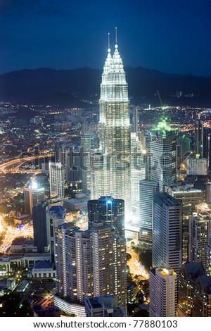 Panorama of Kuala Lumpur from KL Tower in the night. Malaysia - stock photo