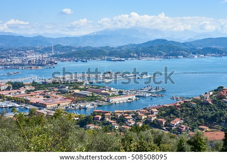 Panorama of La Spezzia in Italy / Beautiful cityscape in Liguria - Italy / Panoramic view over harbor
