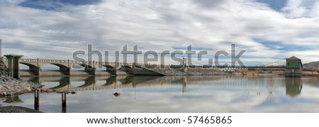 Panorama of Lahontan Reservoir, Nevada. - stock photo