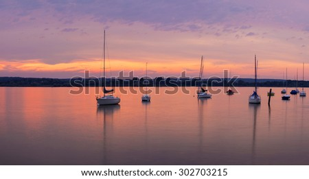 Panorama of Lake Ammersee with sailboats, Buch, Bavaria, Germany