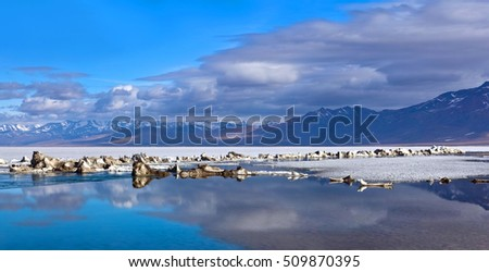 Panorama of Lake Manasarovar (Mapam Yumco) under ice, Western Tibet. According to the Hindu religion, the lake was first created in the mind of the Lord Brahma after which it manifested on Earth.
