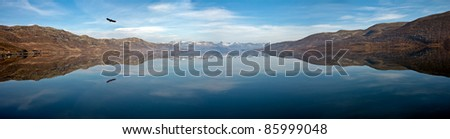 Panorama of lake Tyin in Norway with an eagle creating a mirror image in the water at a day without any wind - stock photo