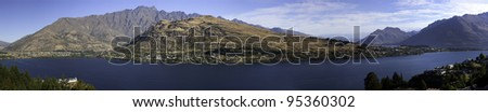 Panorama of Lake Wakatipu and the Remarkables, Queenstown, New Zealand - stock photo