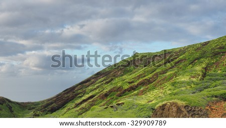 Panorama of Lava Outcroppings Covered in Tropical Foliage on the Coast of Oahu - stock photo