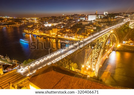 Panorama of lighted famous bridge Ponte dom Luis above Old town Porto and river Duoro at night, Portugal