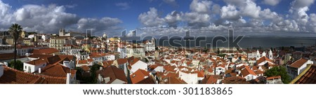 Panorama of Lisbon and Tagus River, Portugal, Europe - stock photo