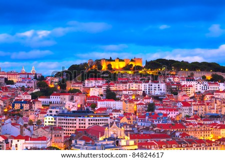 Panorama of Lisbon, Portugal - stock photo