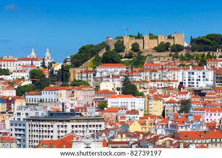 Panorama of Lisbon (Portugal) with the castle - stock photo
