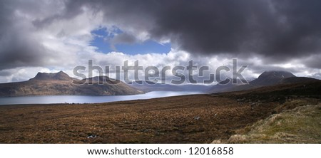 Panorama of Little Loch Broom in northern Scotland - stock photo