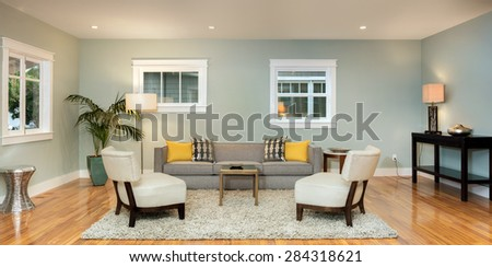 Panorama of Living Room Interior with two traditional windows. - stock photo