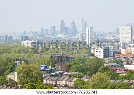 Panorama of London from the hills of Greenwich. - stock photo