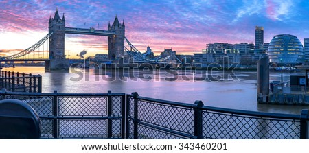 Panorama of London Tower Bridge, Thames River and City Hall viewed at sunrise in London, England - stock photo