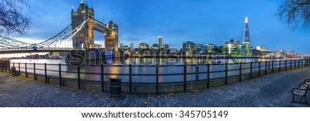 Panorama of London Tower Bridge viewed from Tower of London side of the Thames river before the sunrise in London,England.