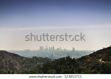 Panorama of Los Angels, California, USA taken from Beverly Hills. - stock photo