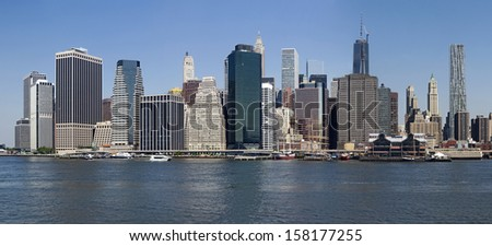 panorama of lower manhattan in daylight - new york